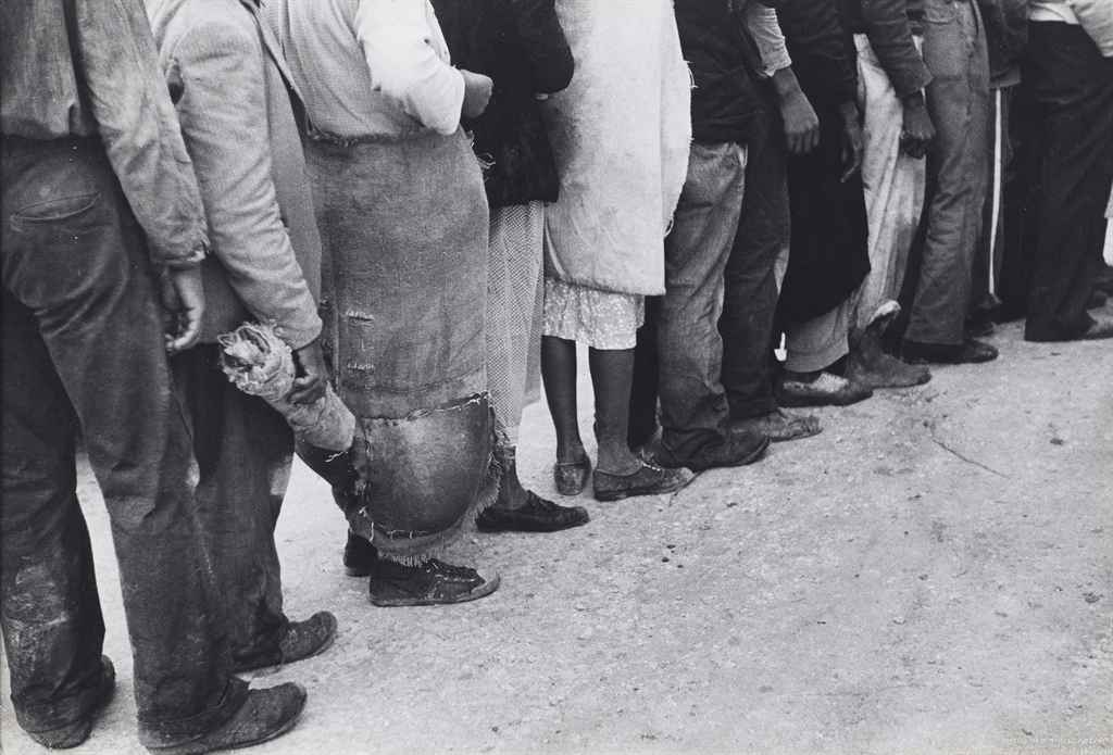 Migrant Vegetable Pickers Waiting in Line to be Paid near Homestead, Florida, 1939