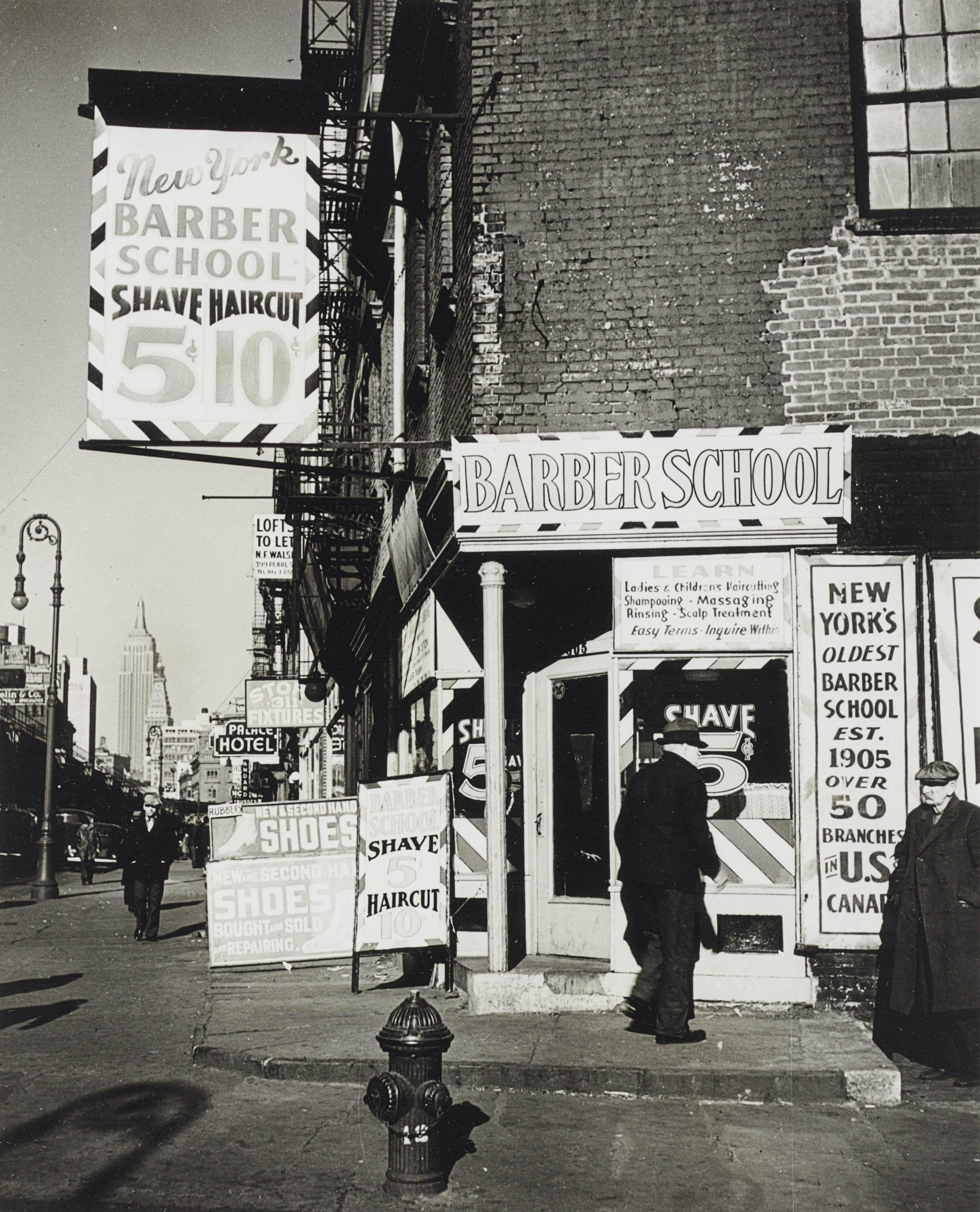 Barber School, Bowery, N.Y.C., 1936