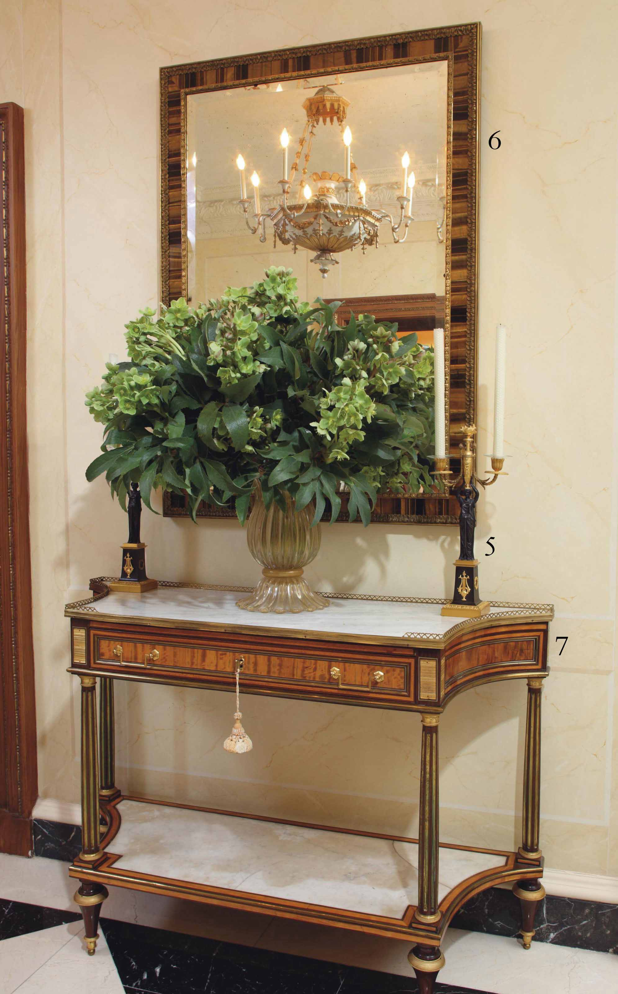 A LATE LOUIS XVI ORMOLU-MOUNTED AND PEWTER-INLAID CITRONNIER AND AMARANTH CONSOLE DESSERTE