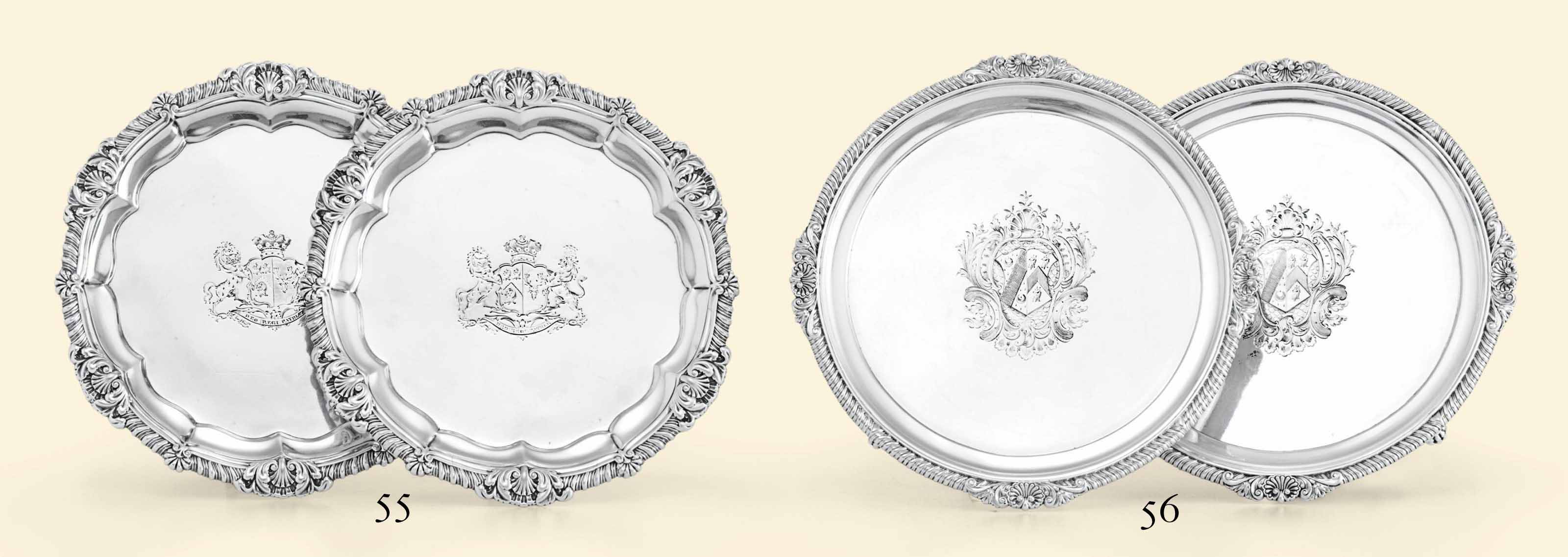 A PAIR OF GEORGE IV SILVER SALVERS