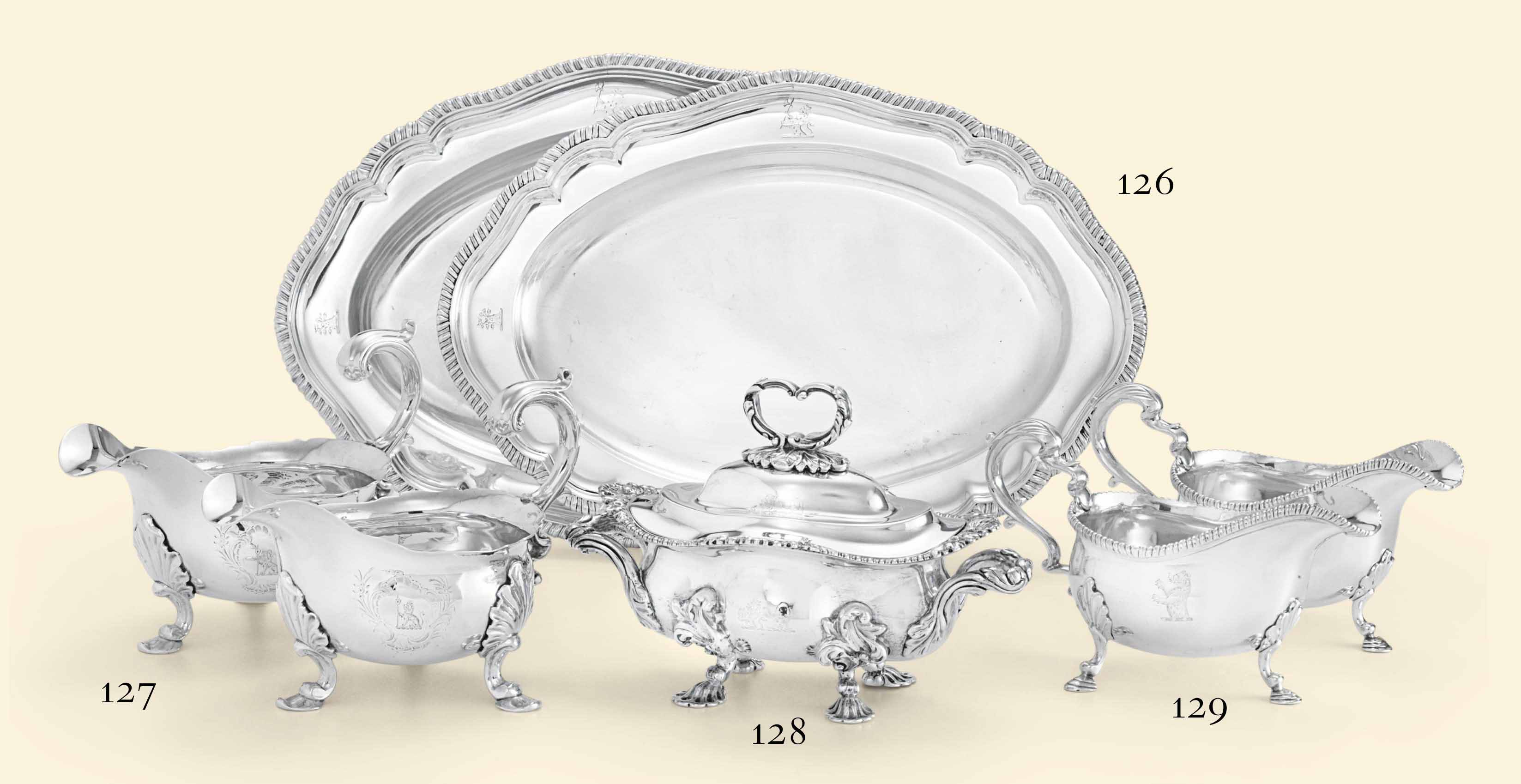 A PAIR OF GEORGE IV SILVER MEAT DISHES