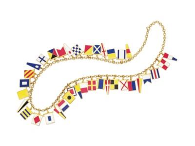 AN ENAMEL AND GOLD FLAG NECKLA
