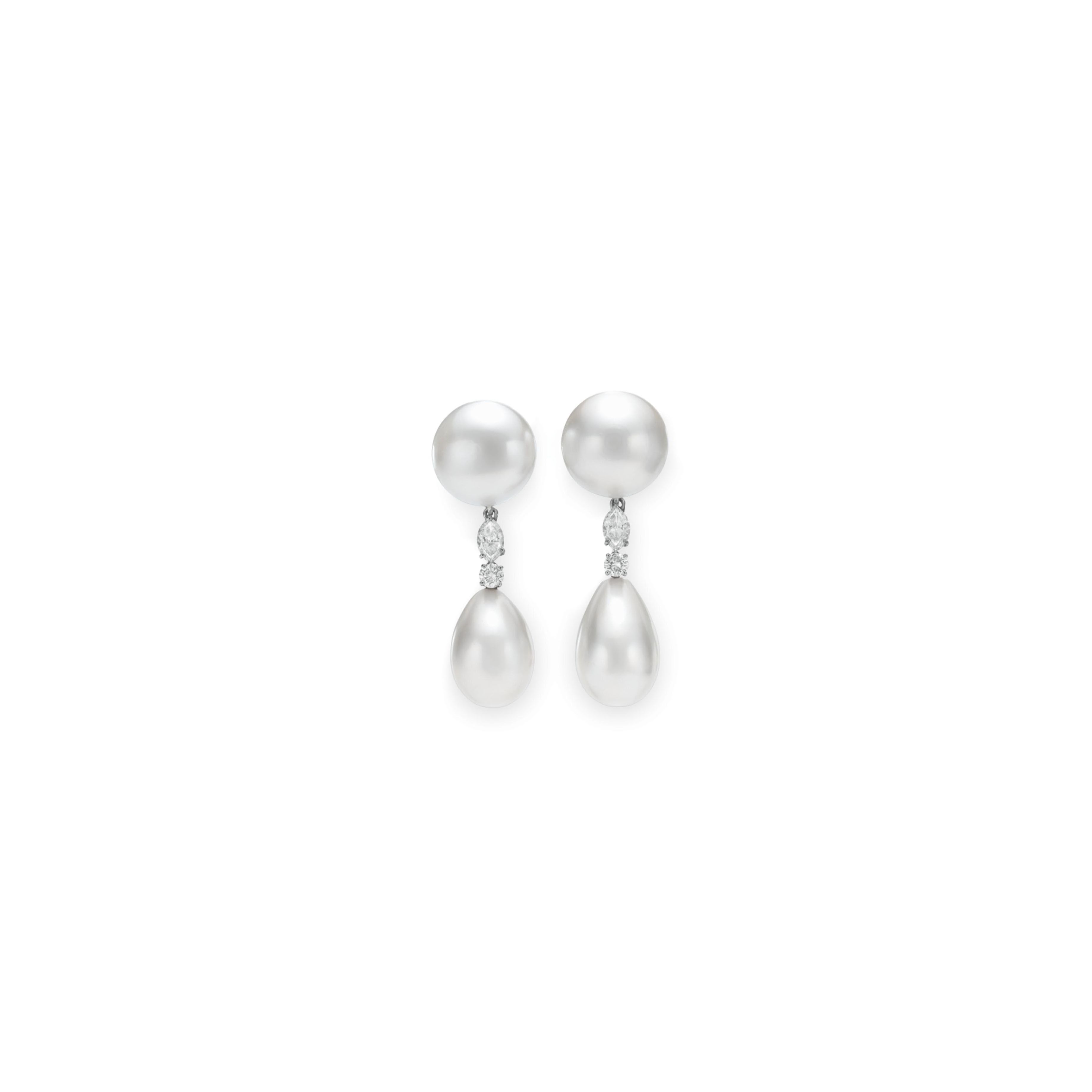 A PAIR OF NATURAL PEARL AND DIAMOND EAR PENDANTS, BY BVLGARI