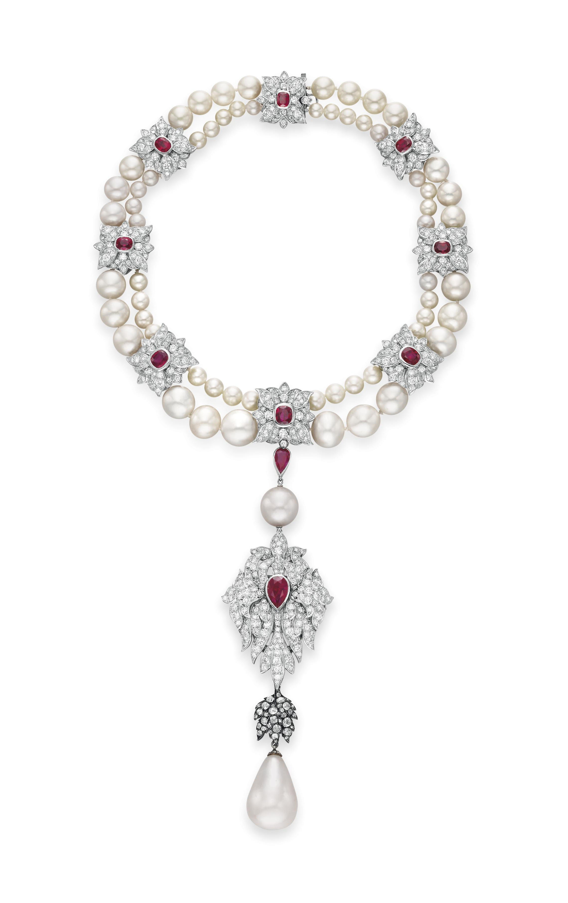 LA PEREGRINA  A NATURAL PEARL, DIAMOND, RUBY AND CULTURED PEARL NECKLACE, BY CARTIER