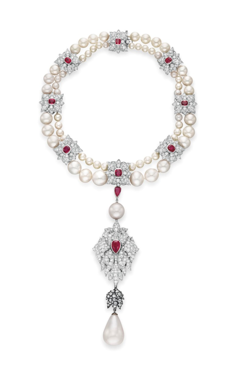 La Peregrina, a natural pearl, diamond, ruby and cultured pearl necklace, sold for $11,842,500 on 13 December 2011 at Christie's in New York, was designed by Elizabeth Taylor and Al Durante of Cartier. It combines a 50.56 carat pearl, dating from the 16th century and owned by successive Spanish kings, with a 19th-century diamond bail. The pendant may also be worn as a brooch