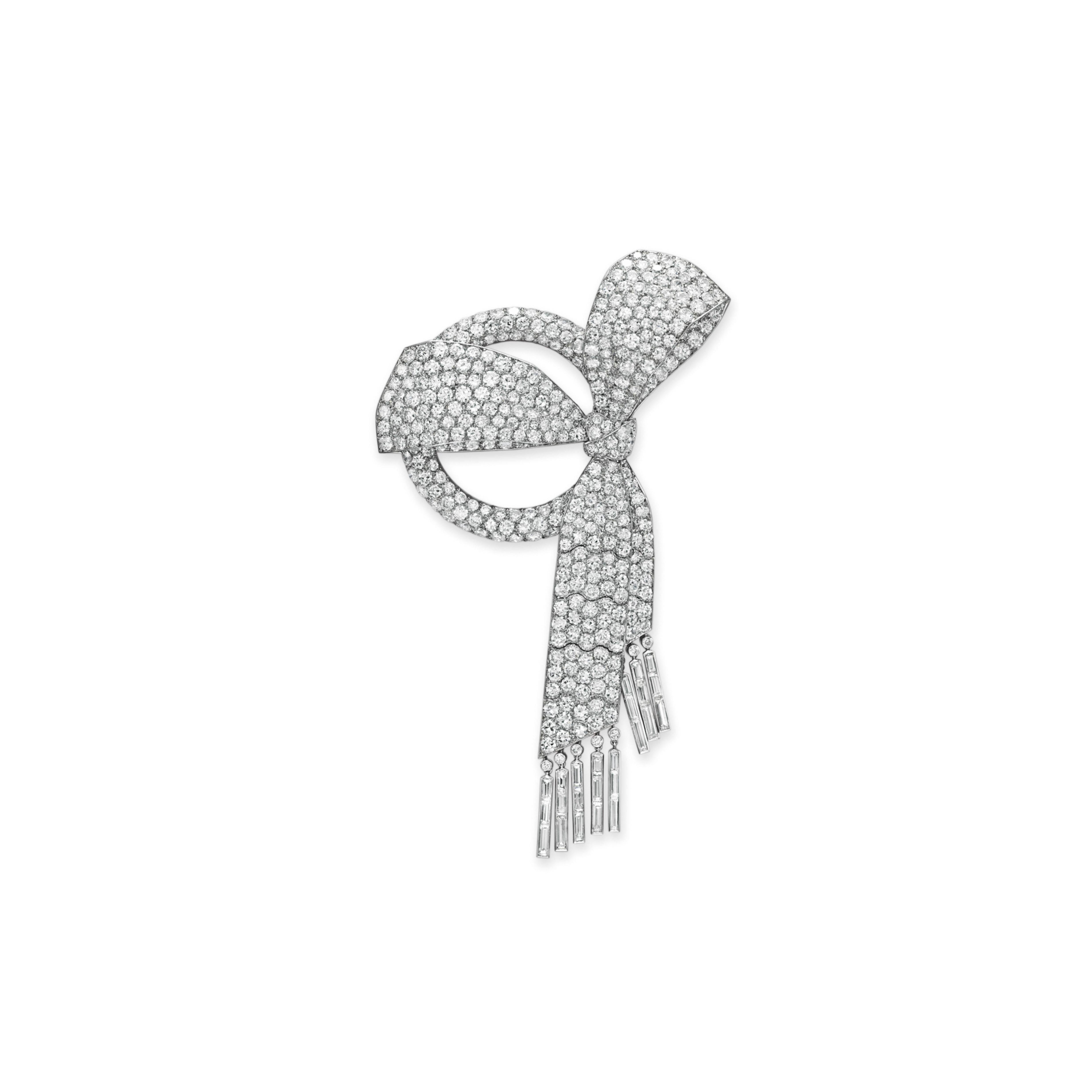 AN ART DECO DIAMOND BOW BROOCH, BY VAN CLEEF & ARPELS