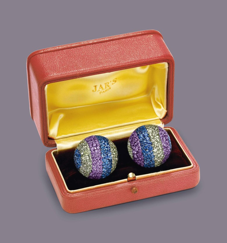 A pair of diamond and multi-coloured sapphire 'Ball' ear clips, by JAR. Sold for $602,500 on 13 December 2011 at Christie's in New York