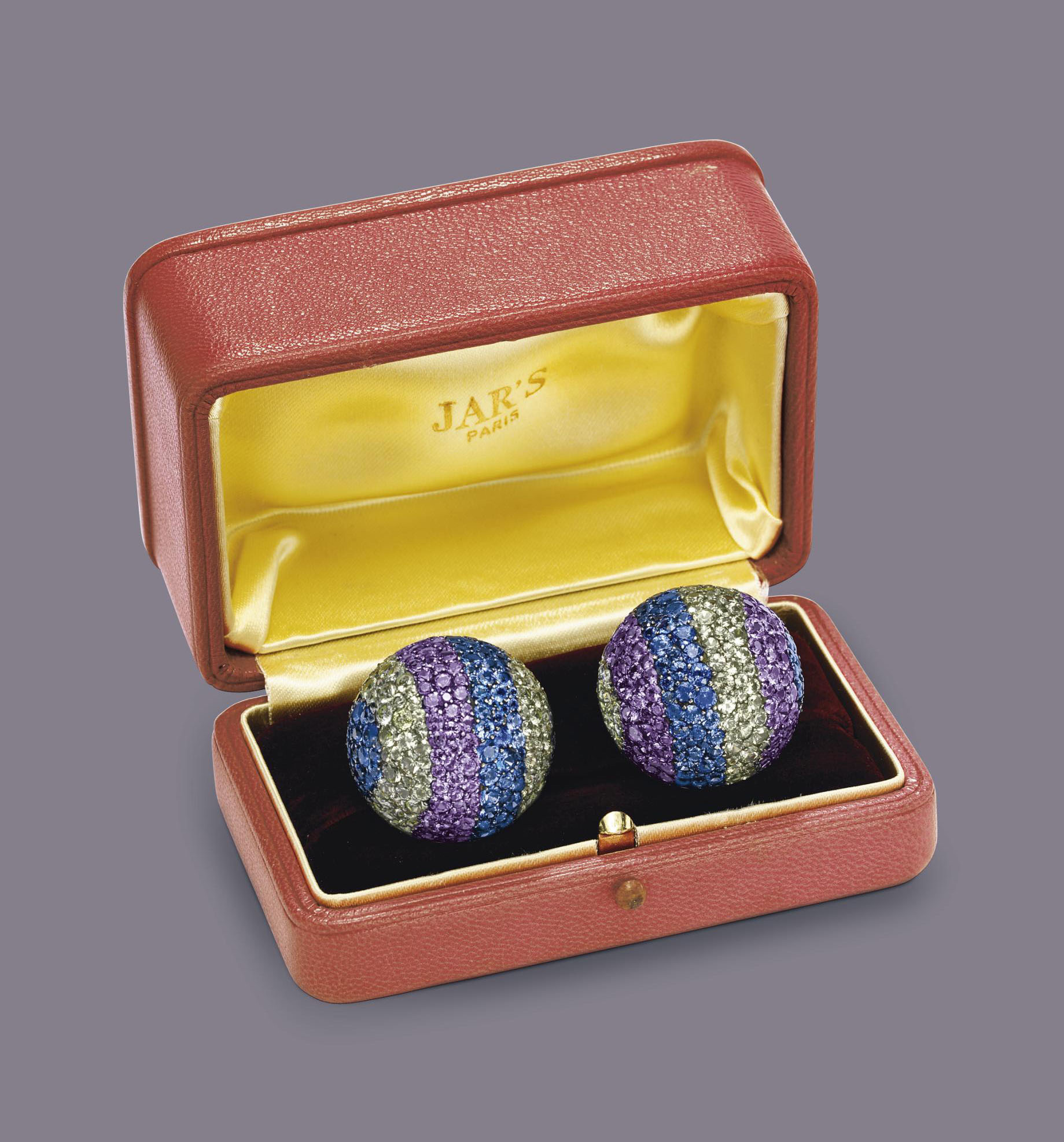 """A PAIR OF DIAMOND AND MULTI-COLORED SAPPHIRE """"BALL"""" EAR CLIPS, BY JAR"""