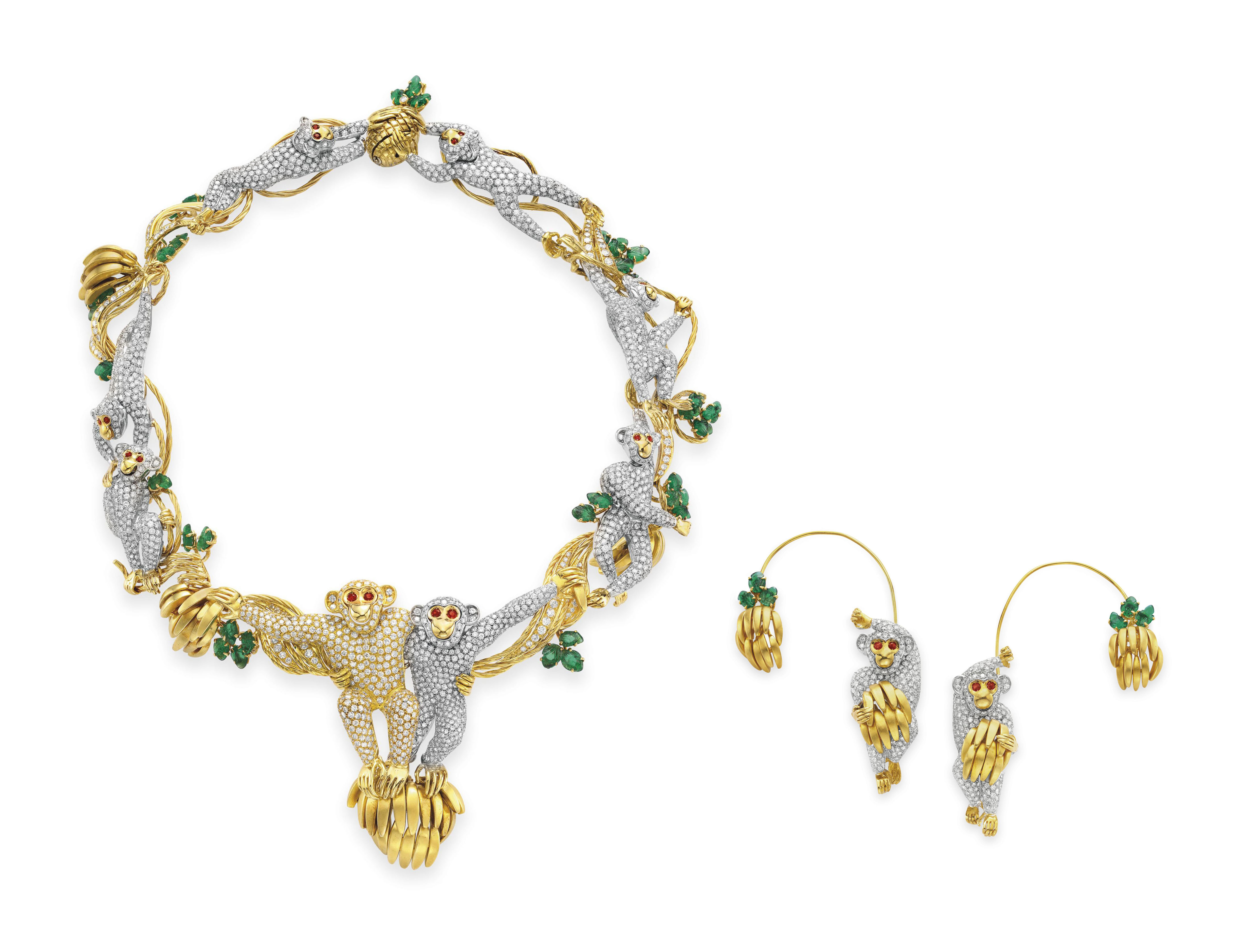 A SUITE OF DIAMOND, EMERALD AND RUBY JEWELRY, BY MASSONI