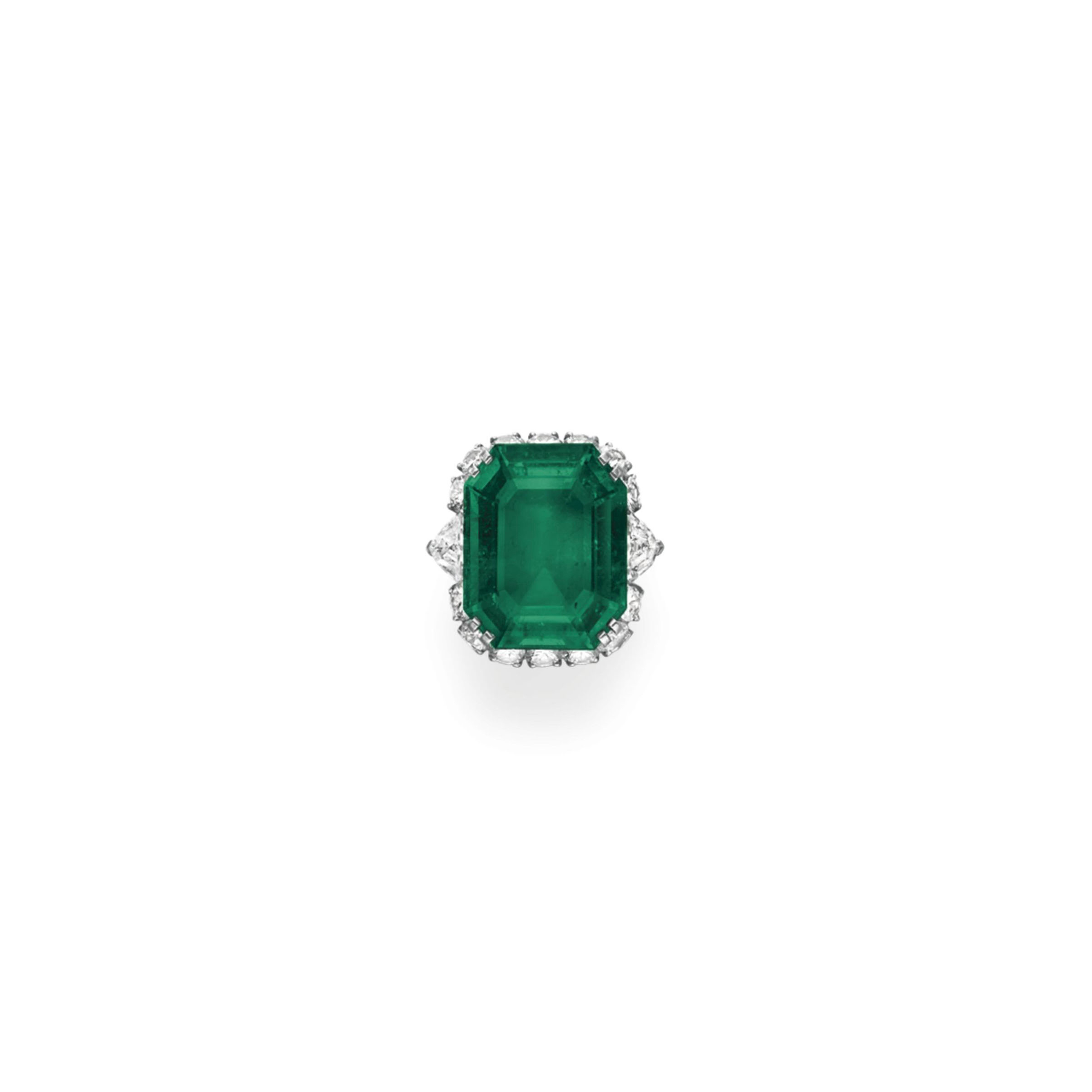 AN EMERALD AND DIAMOND RING, BY BVLGARI
