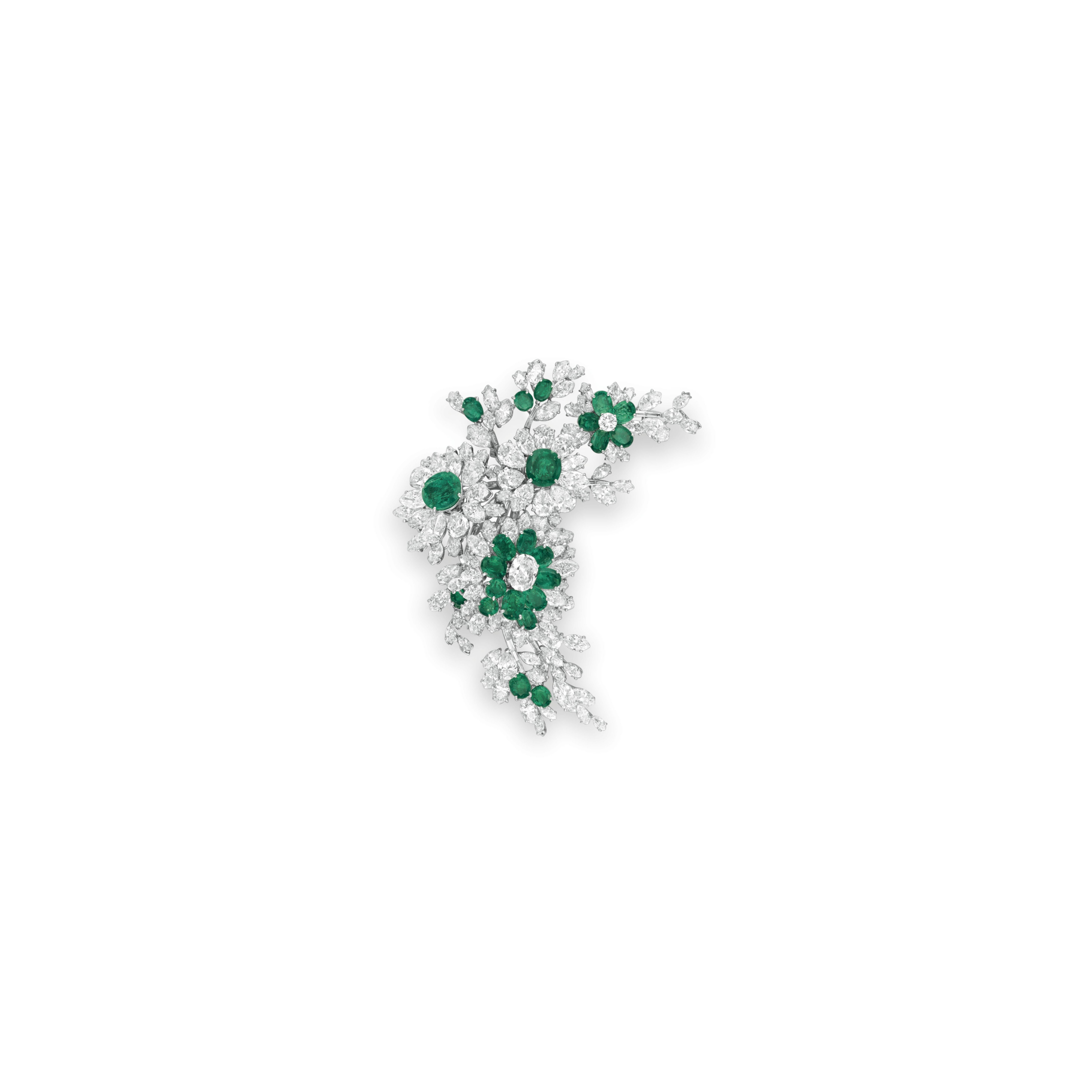 AN EMERALD AND DIAMOND FLOWER BROOCH, BY BVLGARI