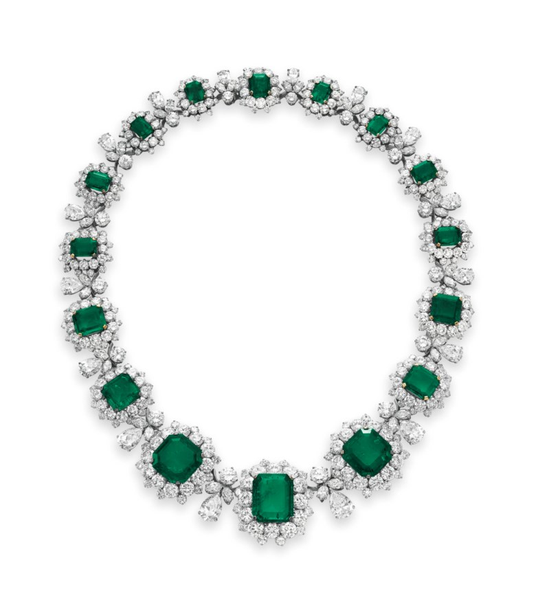 An emerald and diamond necklace, by Bulgari. Sold for $6,130,500 on 13 December 2011 at Christie's in New York