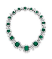 AN EMERALD AND DIAMOND NECKLACE, BY BVLGARI