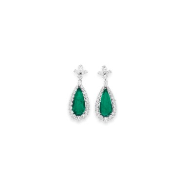 A pair of emerald and diamond ear pendants, by Bulgari. Sold for $3,218,500 on 13 December 2011 at Christie's in New York