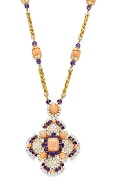~A CORAL, AMETHYST AND DIAMOND