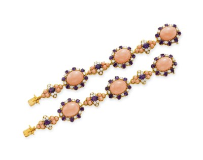 ~A PAIR OF CORAL, AMETHYST AND