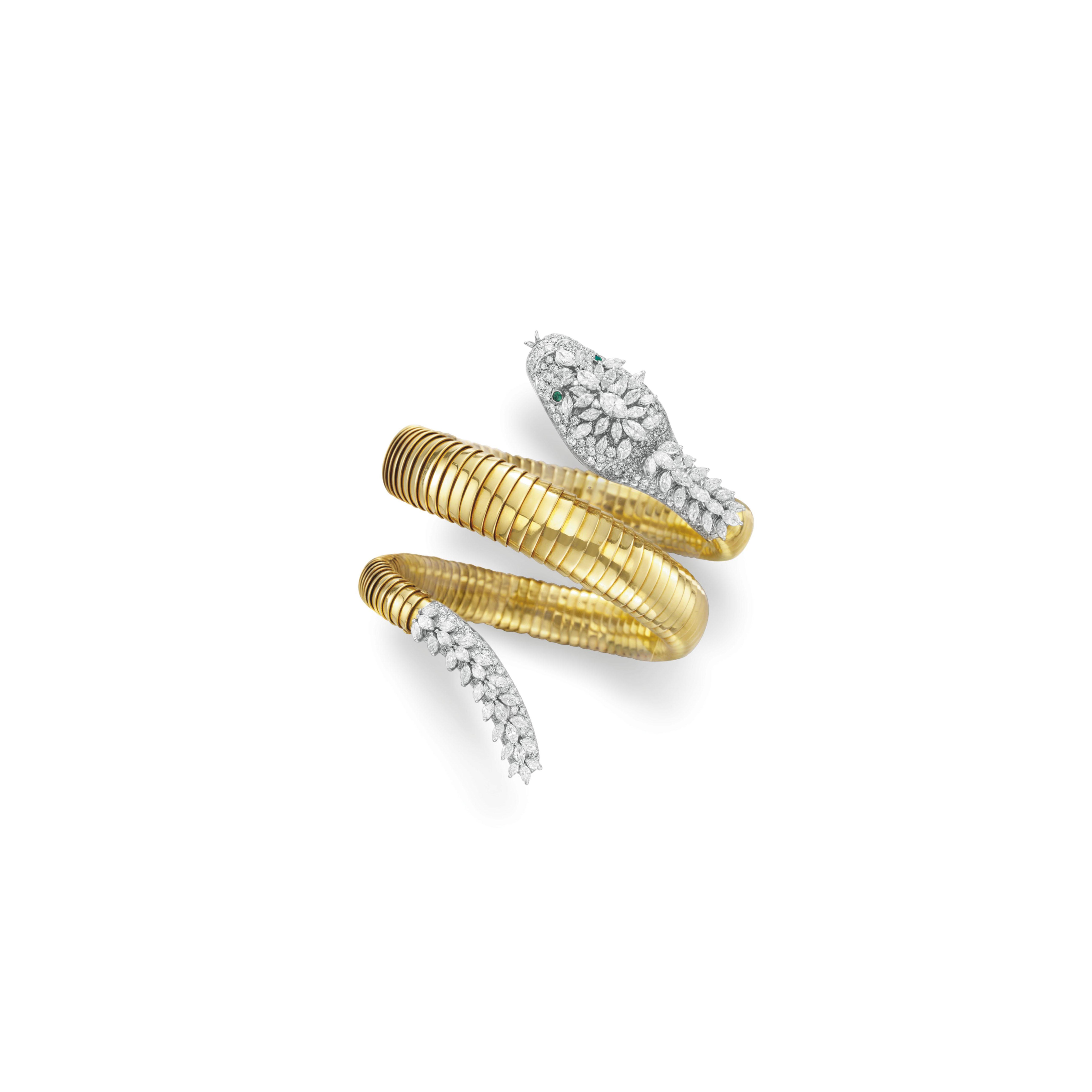 "A DIAMOND, EMERALD AND GOLD ""SNAKE"" BRACELET WATCH, BY BVLGARI"