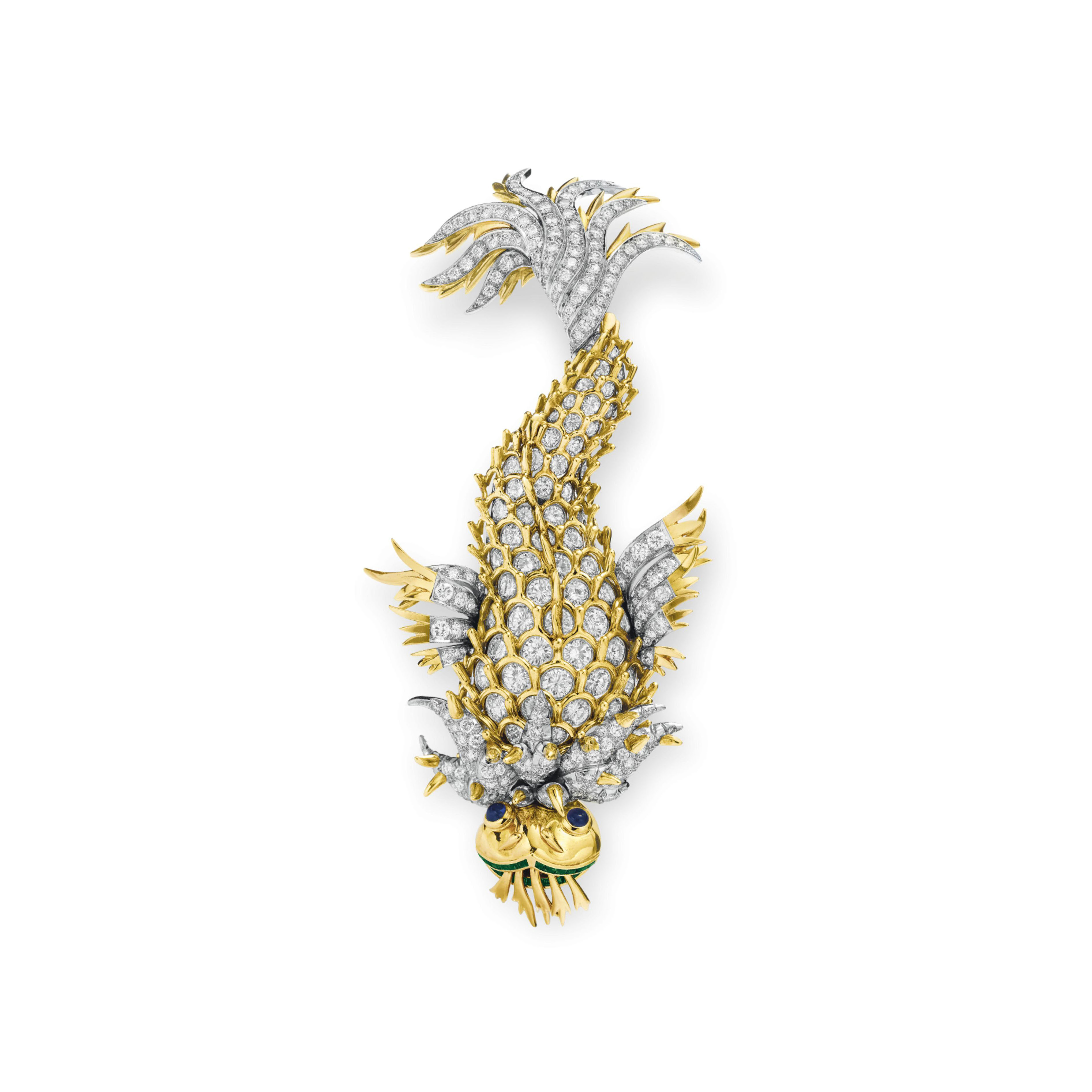 """A DIAMOND, SAPPHIRE AND EMERALD """"DOLPHIN"""" BROOCH, BY JEAN SCHLUMBERGER, TIFFANY & CO."""