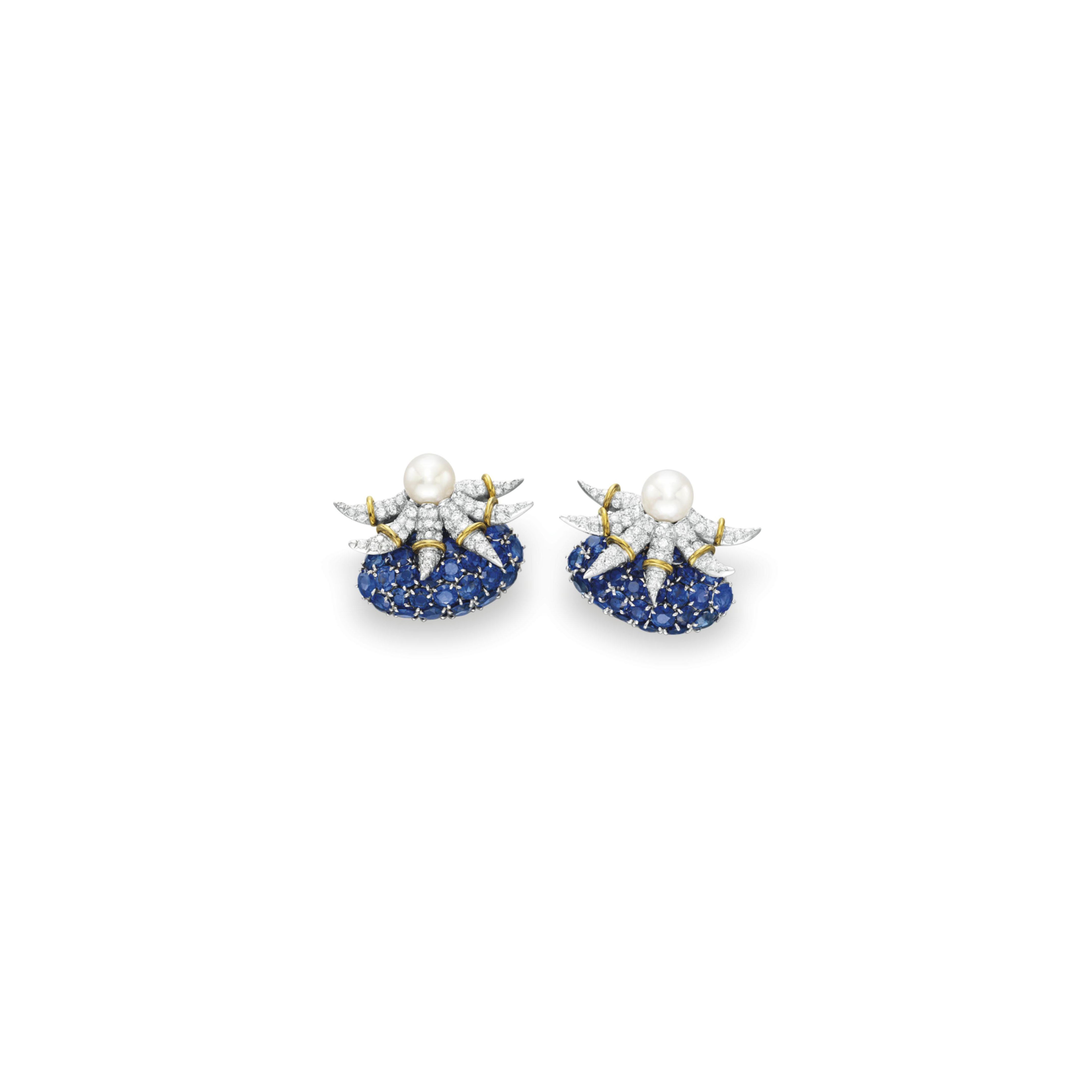 A PAIR OF DIAMOND, SAPPHIRE AND CULTURED PEARL EAR CLIPS, BY JEAN SCHLUMBERGER, TIFFANY & CO.