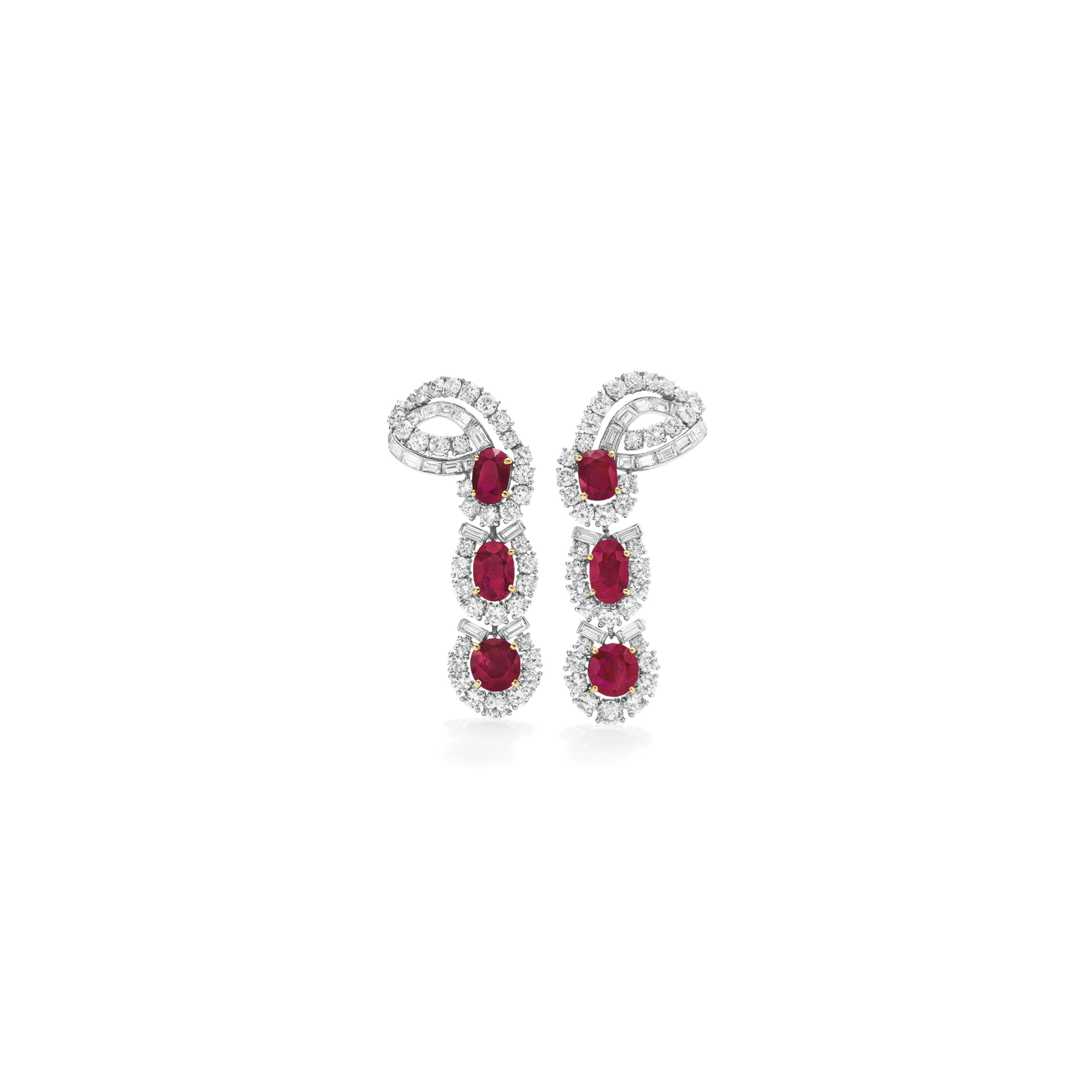 A PAIR OF RUBY AND DIAMOND EAR PENDANTS, BY CARTIER