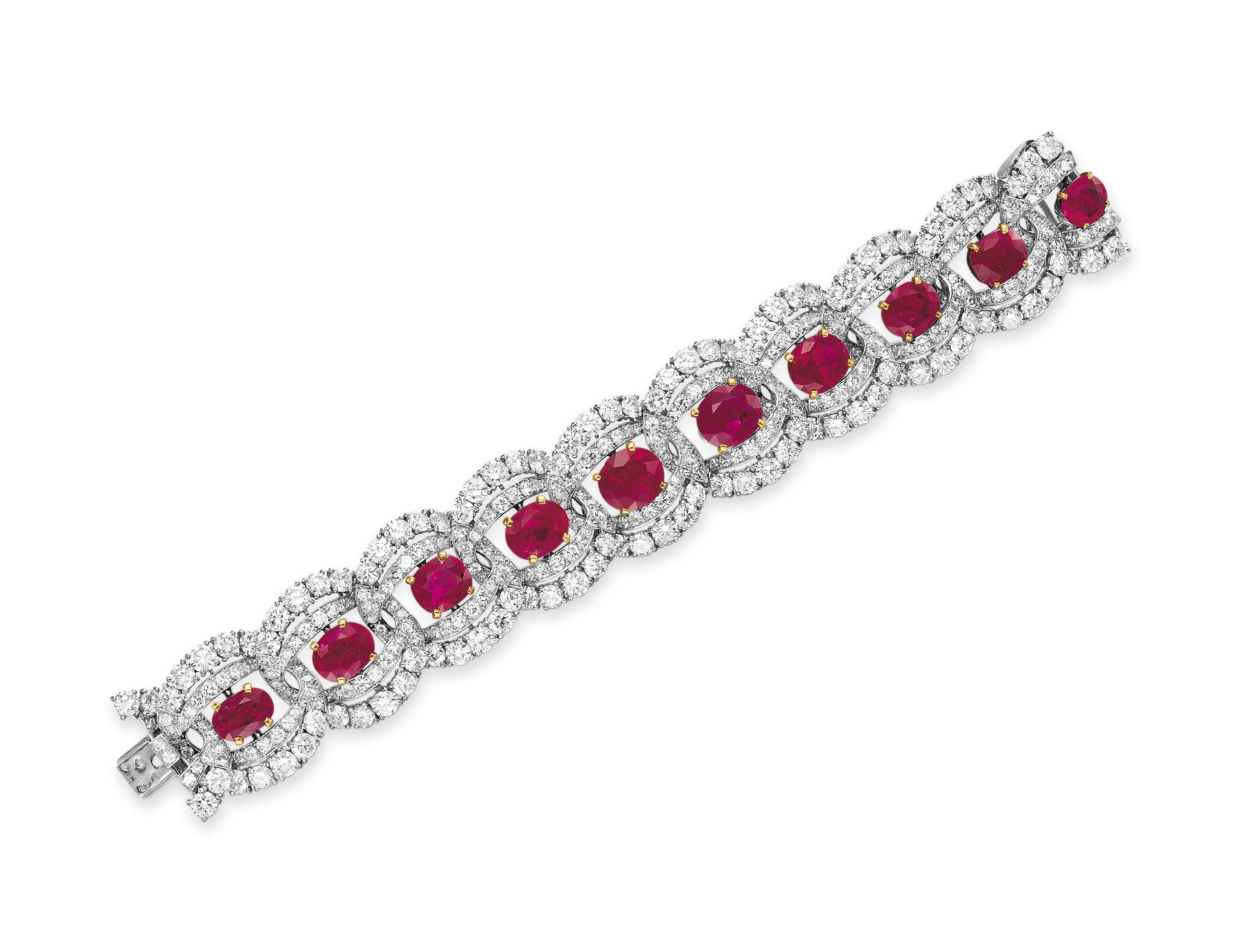 A RUBY AND DIAMOND BRACELET, BY CARTIER