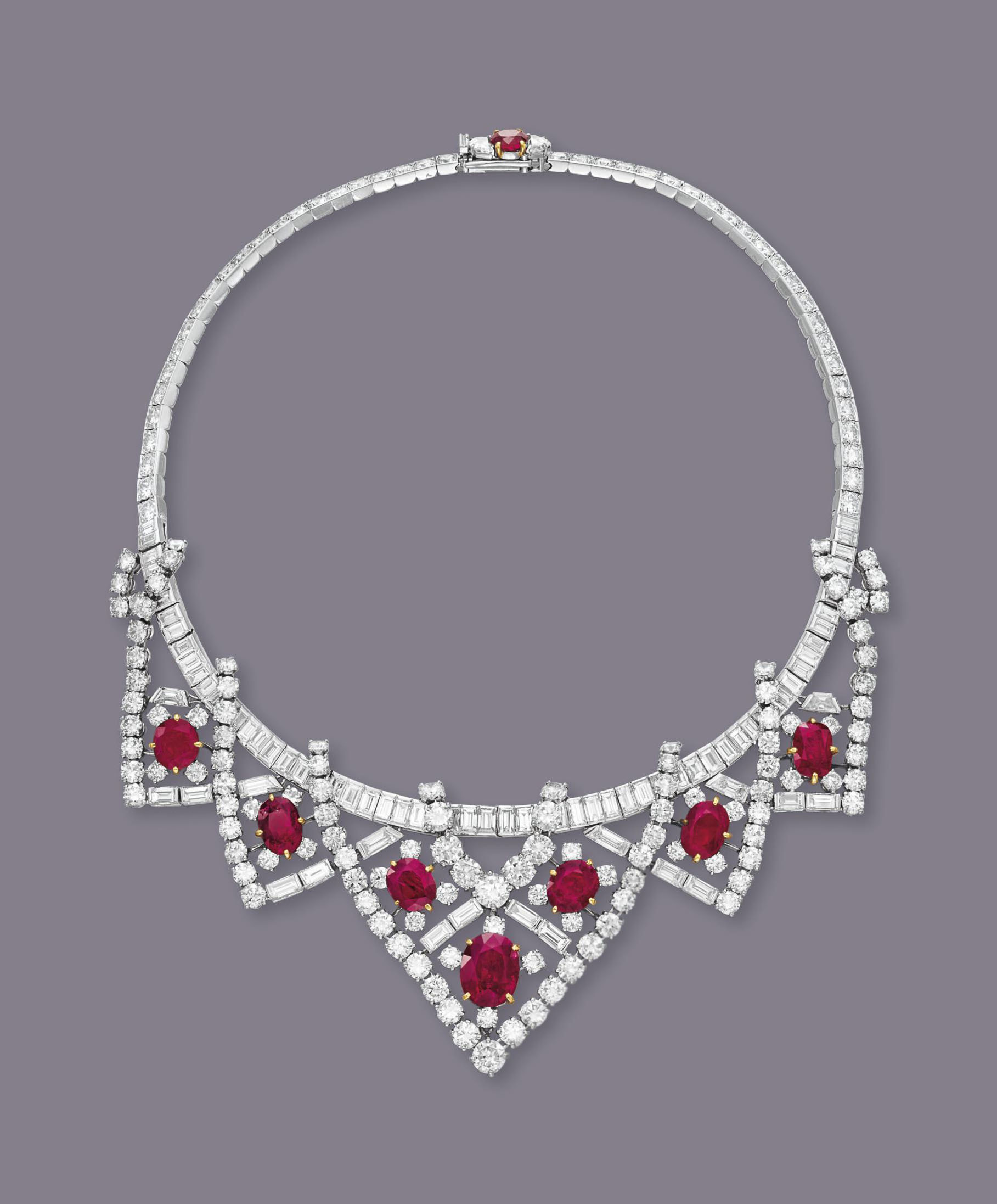 A RUBY AND DIAMOND NECKLACE, BY CARTIER