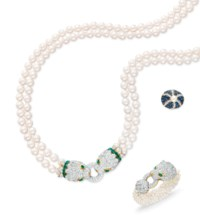 A SET OF DIAMOND, EMERALD AND CULTURED PEARL JEWELRY, BY DAVID WEBB