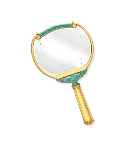 A TURQUOISE AND GOLD MIRROR, B