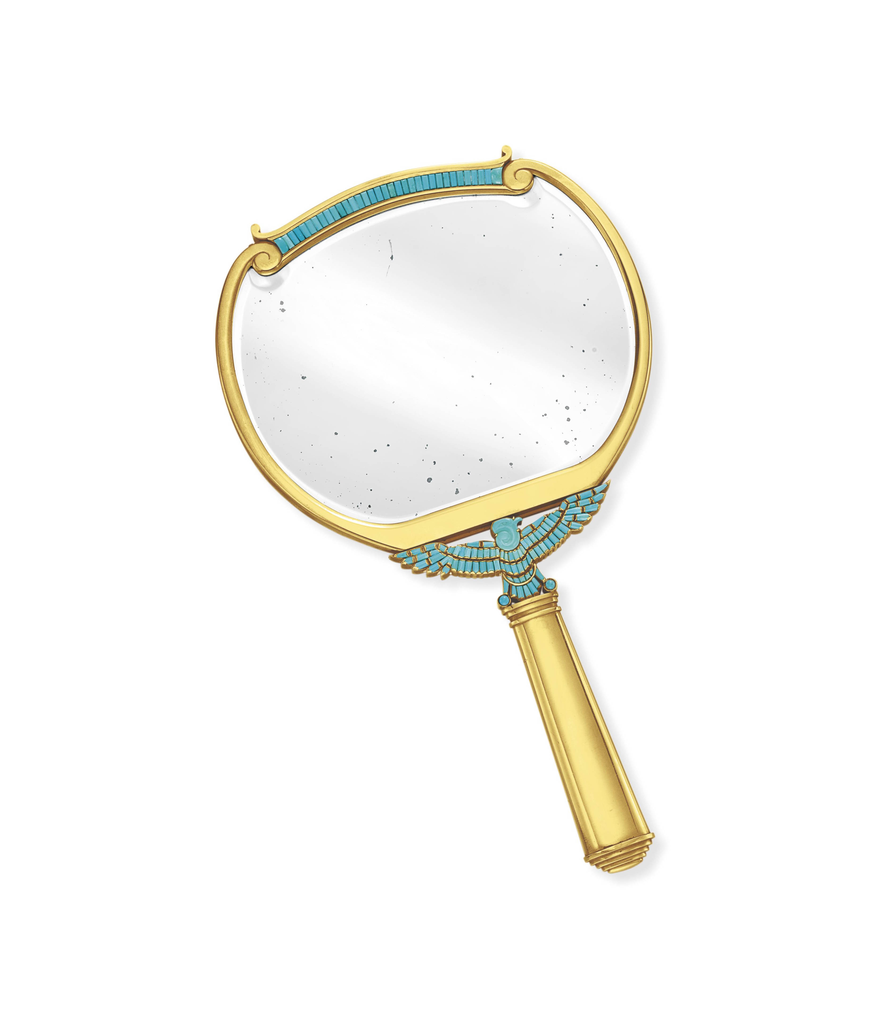 A TURQUOISE AND GOLD MIRROR, BY BVLGARI