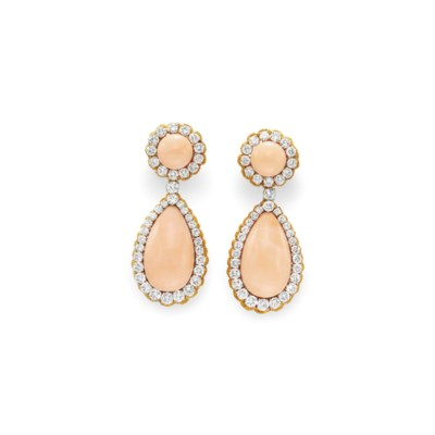 ~A PAIR OF CORAL AND DIAMOND
