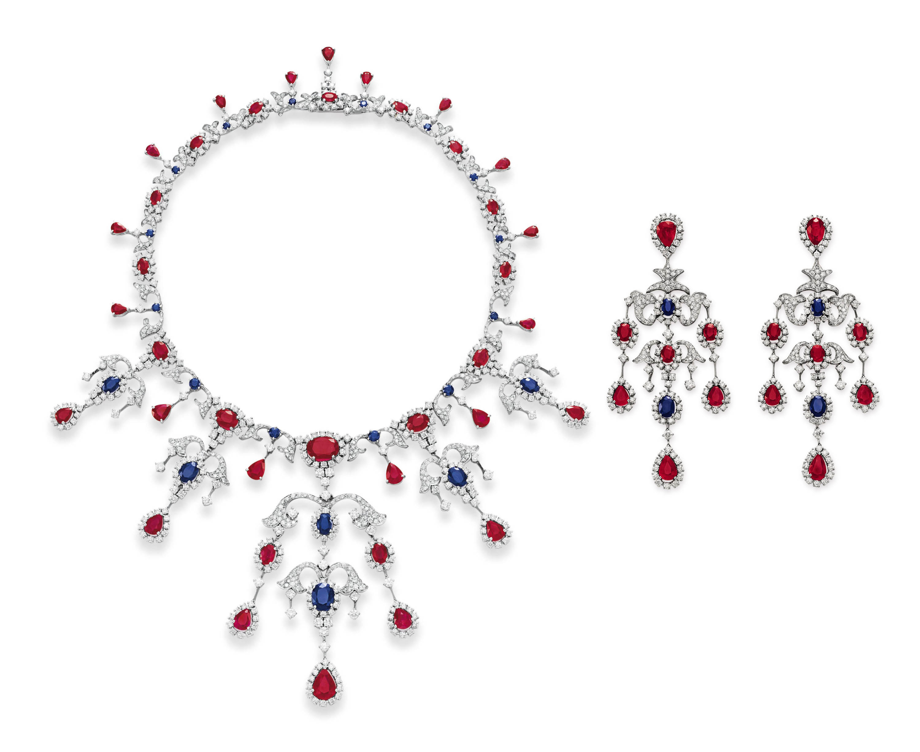 A SET OF RUBY, SAPPHIRE AND DIAMOND JEWELRY, BY HOUSE OF TAYLOR