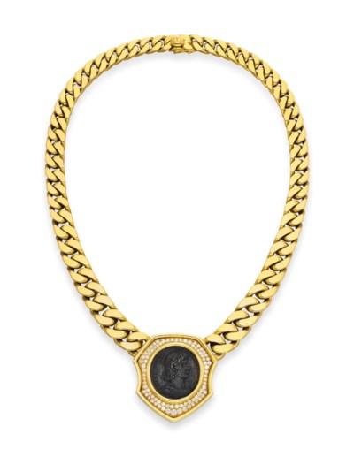 A DIAMOND AND GOLD COIN NECKLA