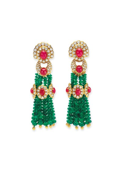 A PAIR OF EMERALD, RUBY AND DI