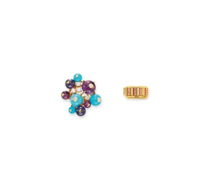TWO DIAMOND AND MULTI-GEM RING