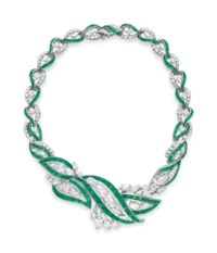 AN EMERALD AND DIAMOND NECKLACE, BY OSCAR HEYMAN & BROTHERS