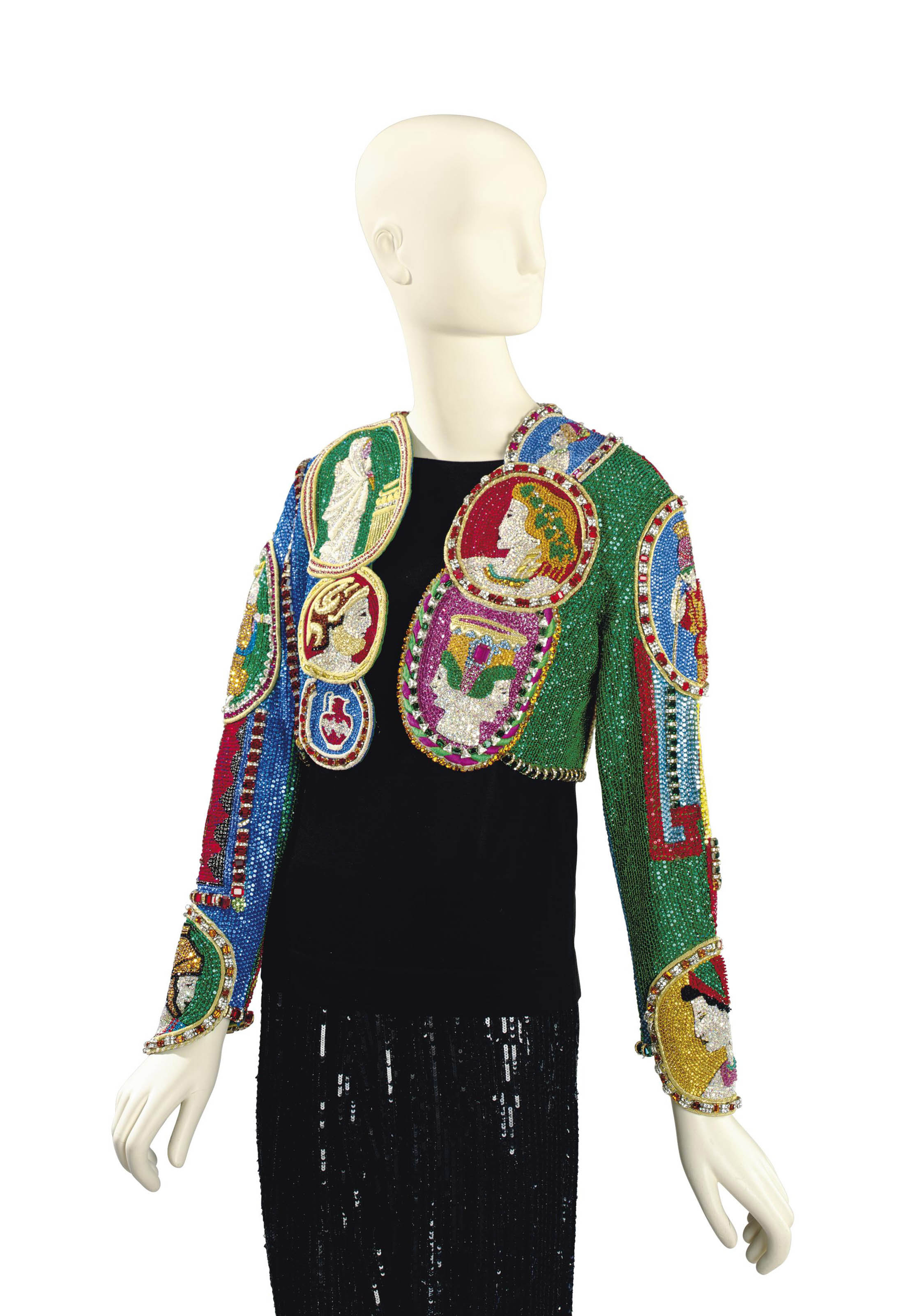 A VERSACE BEADED EVENING BOLERO JACKET, 'GREEK FACES'