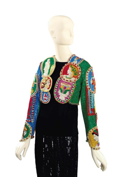 A VERSACE BEADED EVENING BOLER