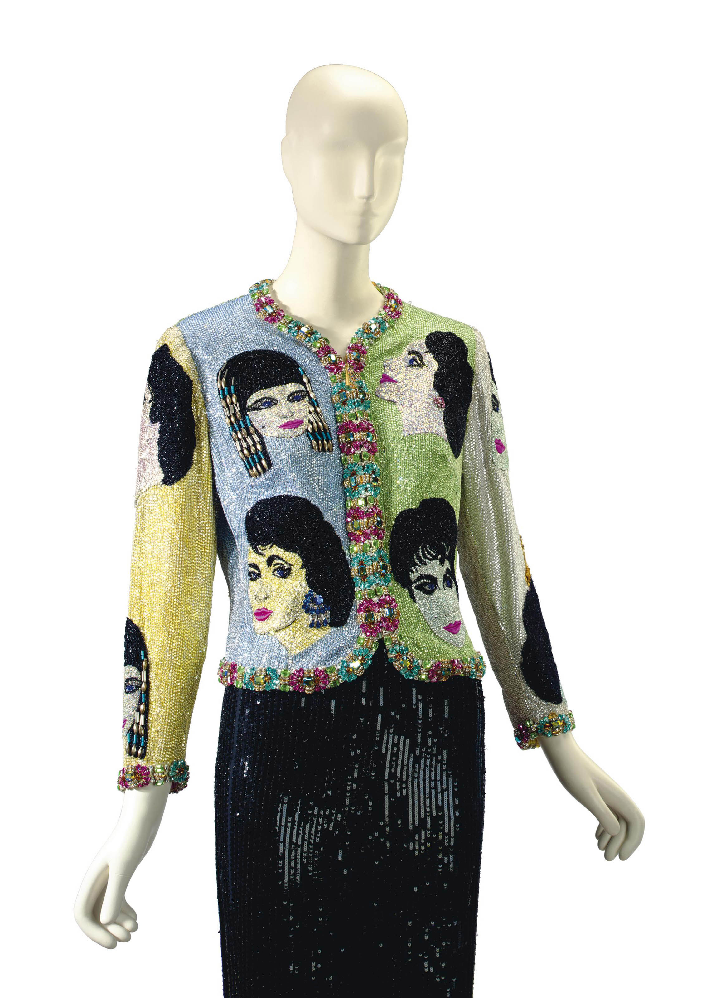 A VERSACE BEADED EVENING JACKET, 'THE FACE'