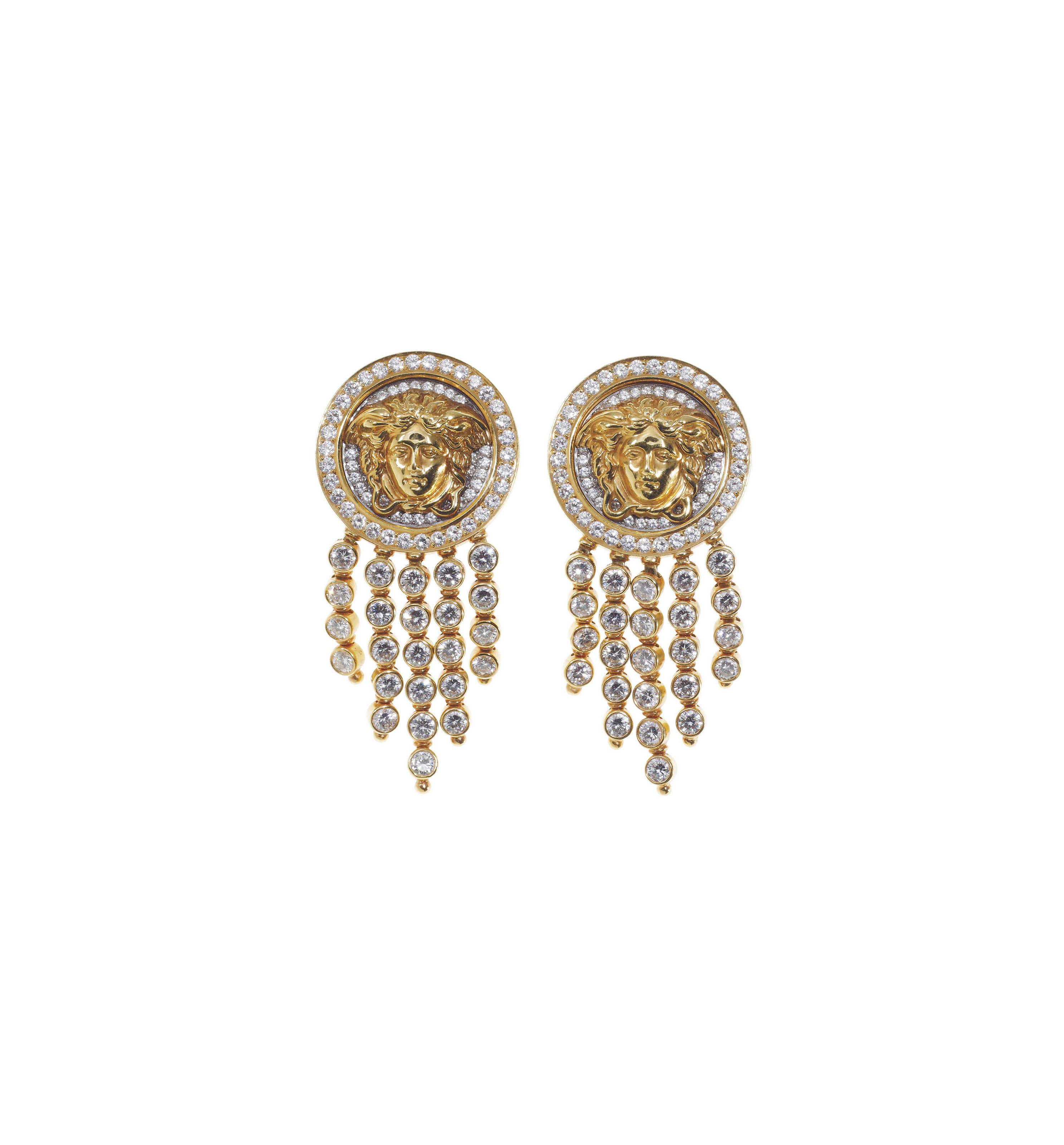 A PAIR OF DIAMOND AND GOLD EAR PENDANTS, BY GIANNI VERSACE