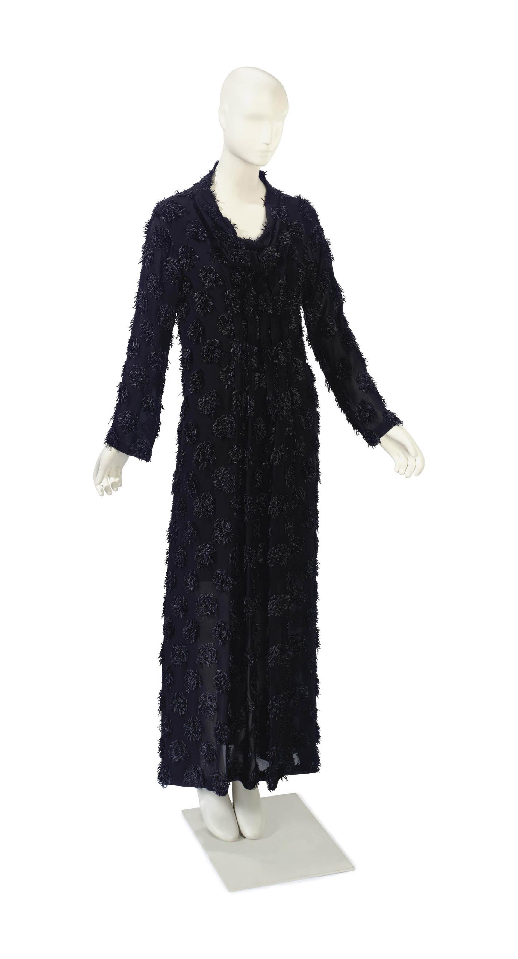 AN ISSEY MIYAKE BLACK SILK CHIFFON DRESS