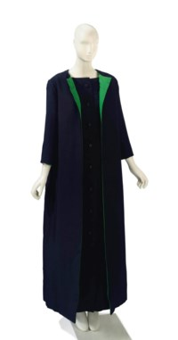 AN YVES SAINT LAURENT BLACK LINEN EVENING COAT AND GOWN