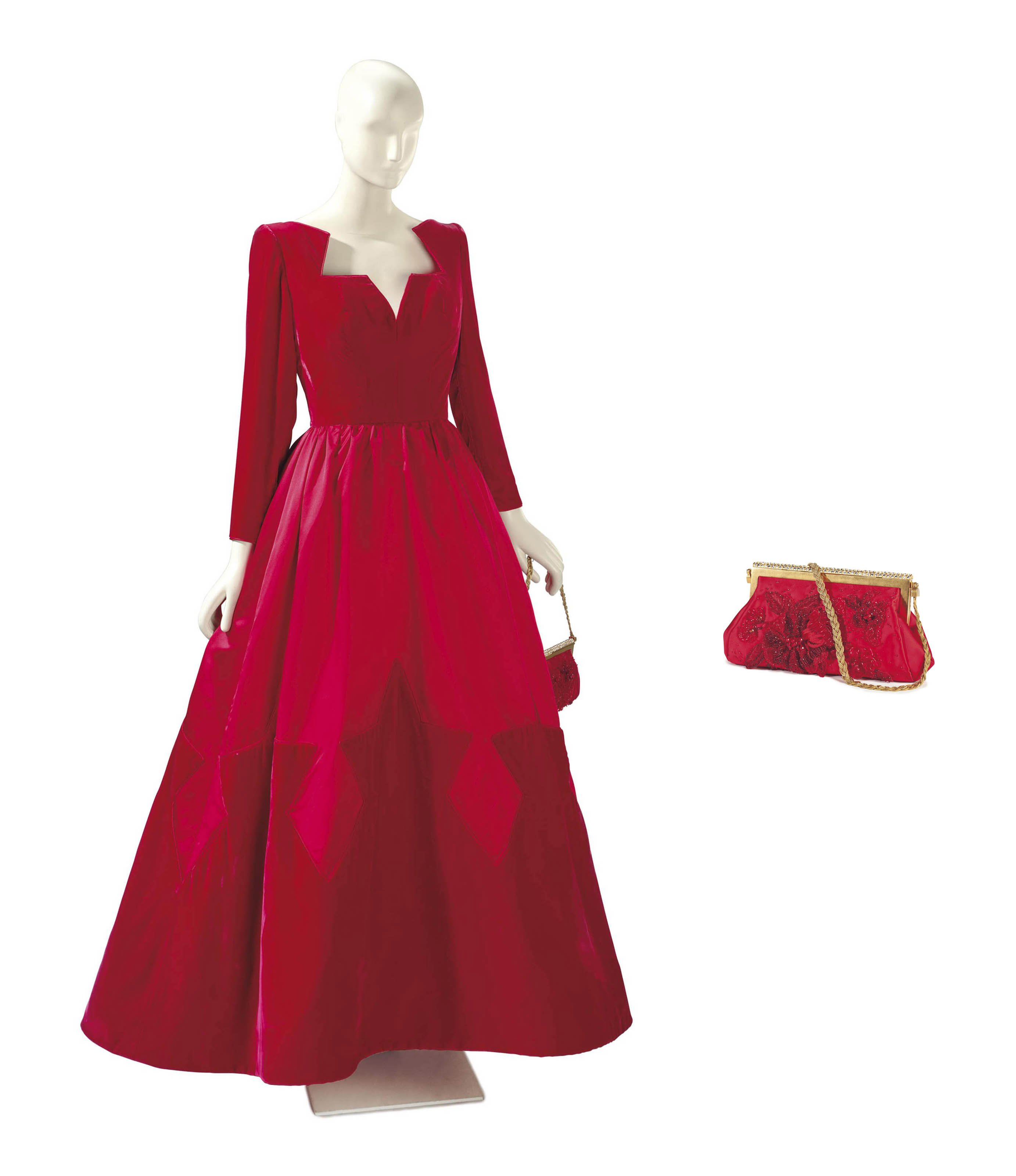 A VALENTINO RED VELVET AND SATIN BALL GOWN WITH SCARLET AND BEADED ...