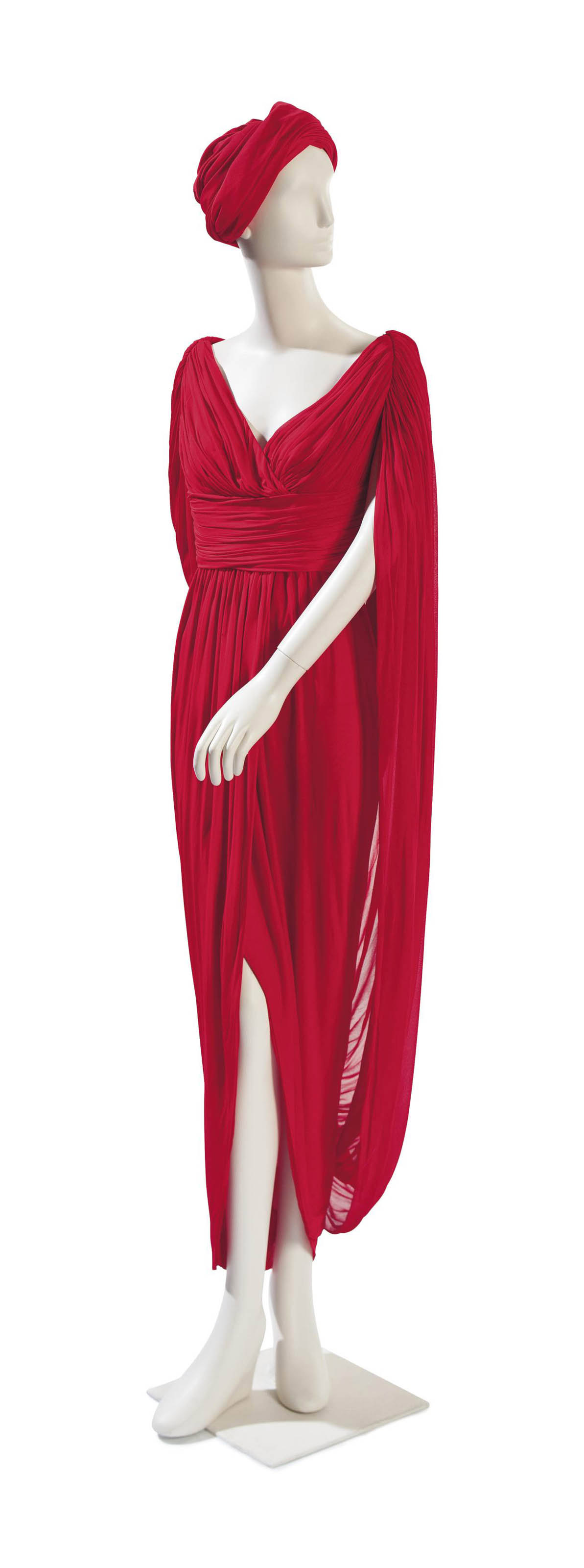 A HALSTON SCARLET SILK JERSEY DRAPED EVENING DRESS AND TURBAN