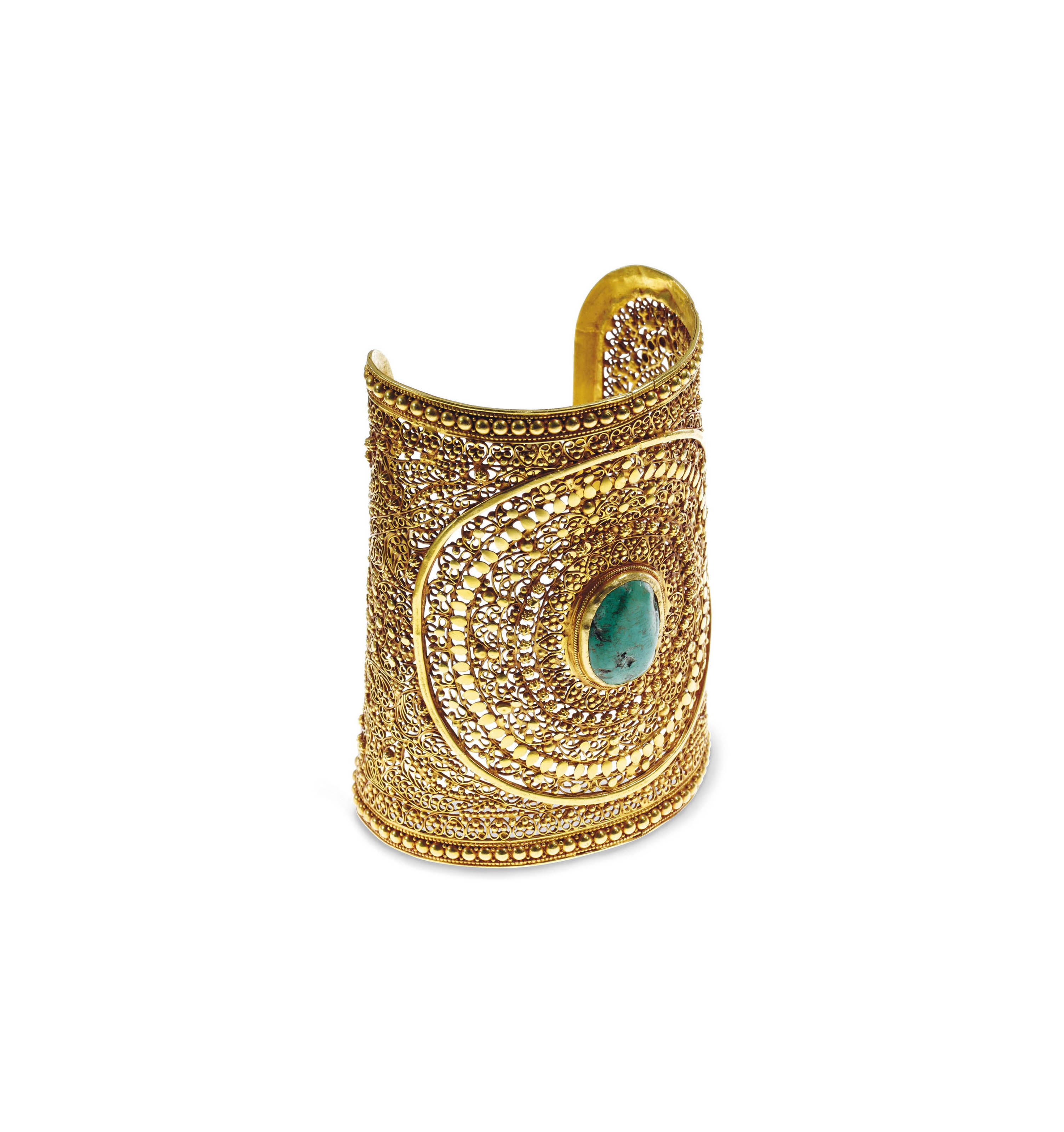 A TURQUOISE AND GOLD CUFF BRACELET