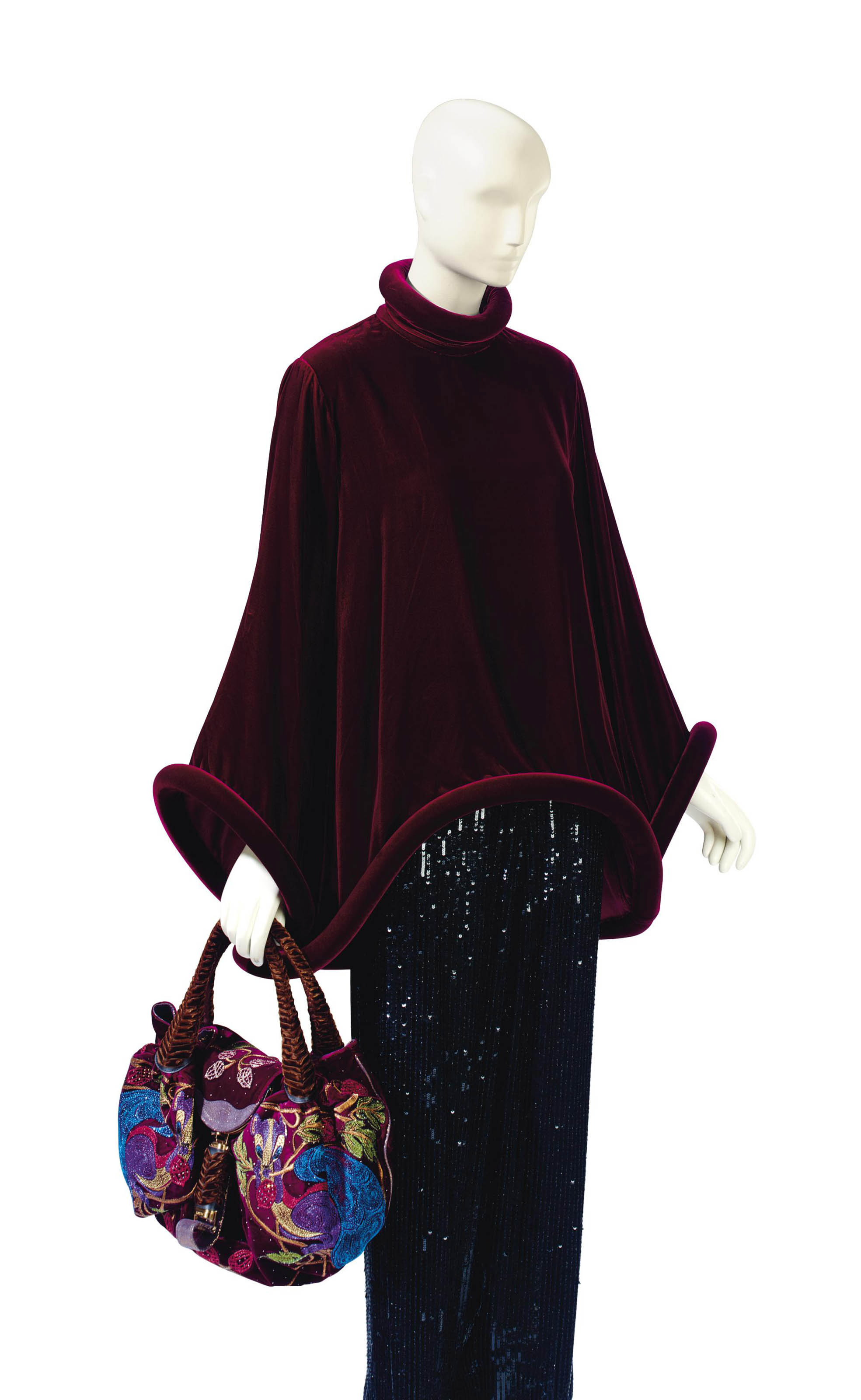 A GAULTIER BURGUNDY VELVET TUNIC AND FENDI BAG
