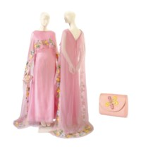 TWO CHRISTIAN DIOR PINK CHIFFON AND RAFFIA EMBROIDERED EVENING GOWNS WITH A MATCHING CLUTCH