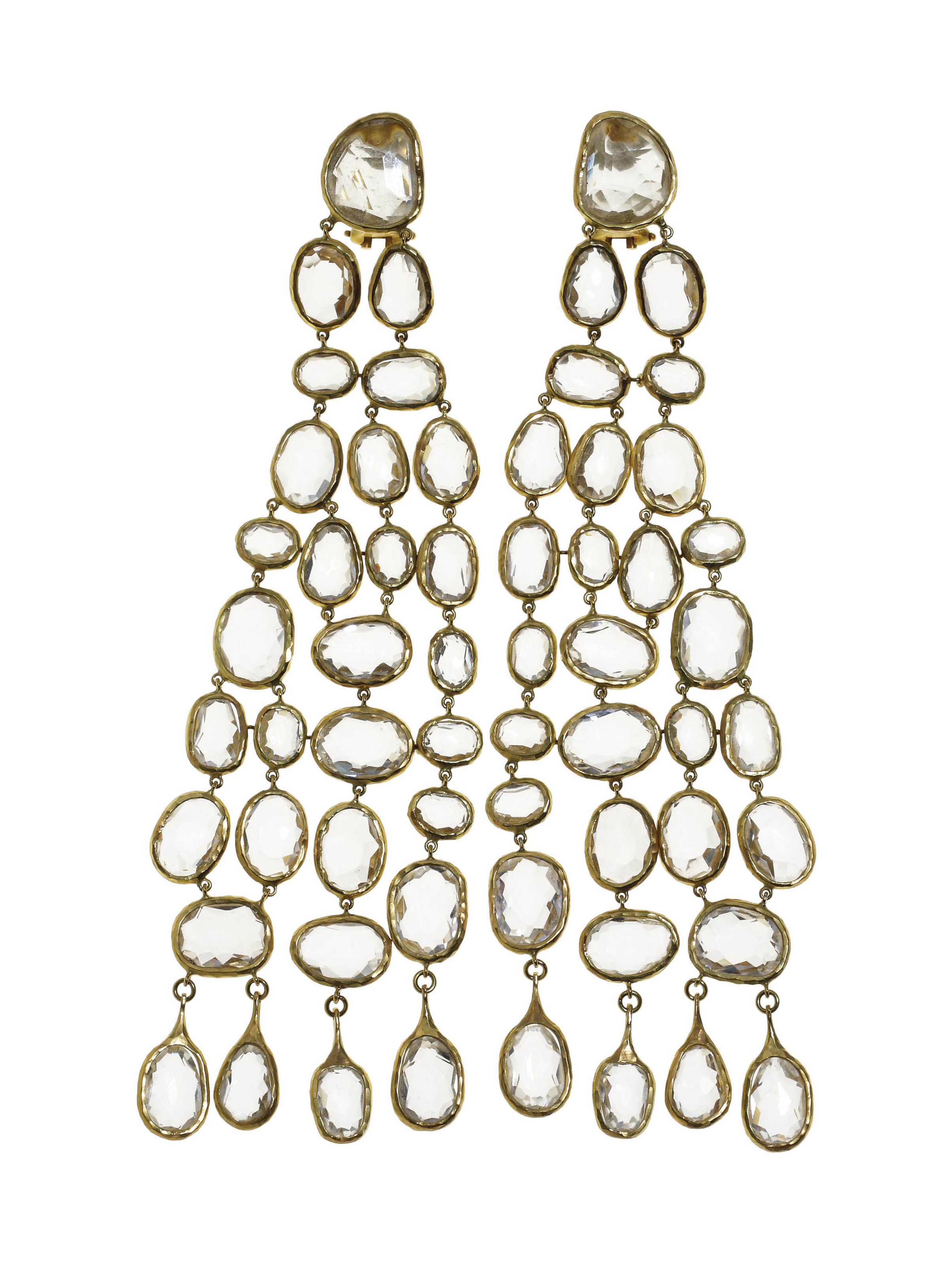 A PAIR OF ROCK CRYSTAL AND GOLD EAR PENDANTS, BY GUCCI