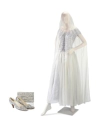 A CHANEL BALLGOWN, CAPE, SHOES AND MATCHING CLUTCH BAG