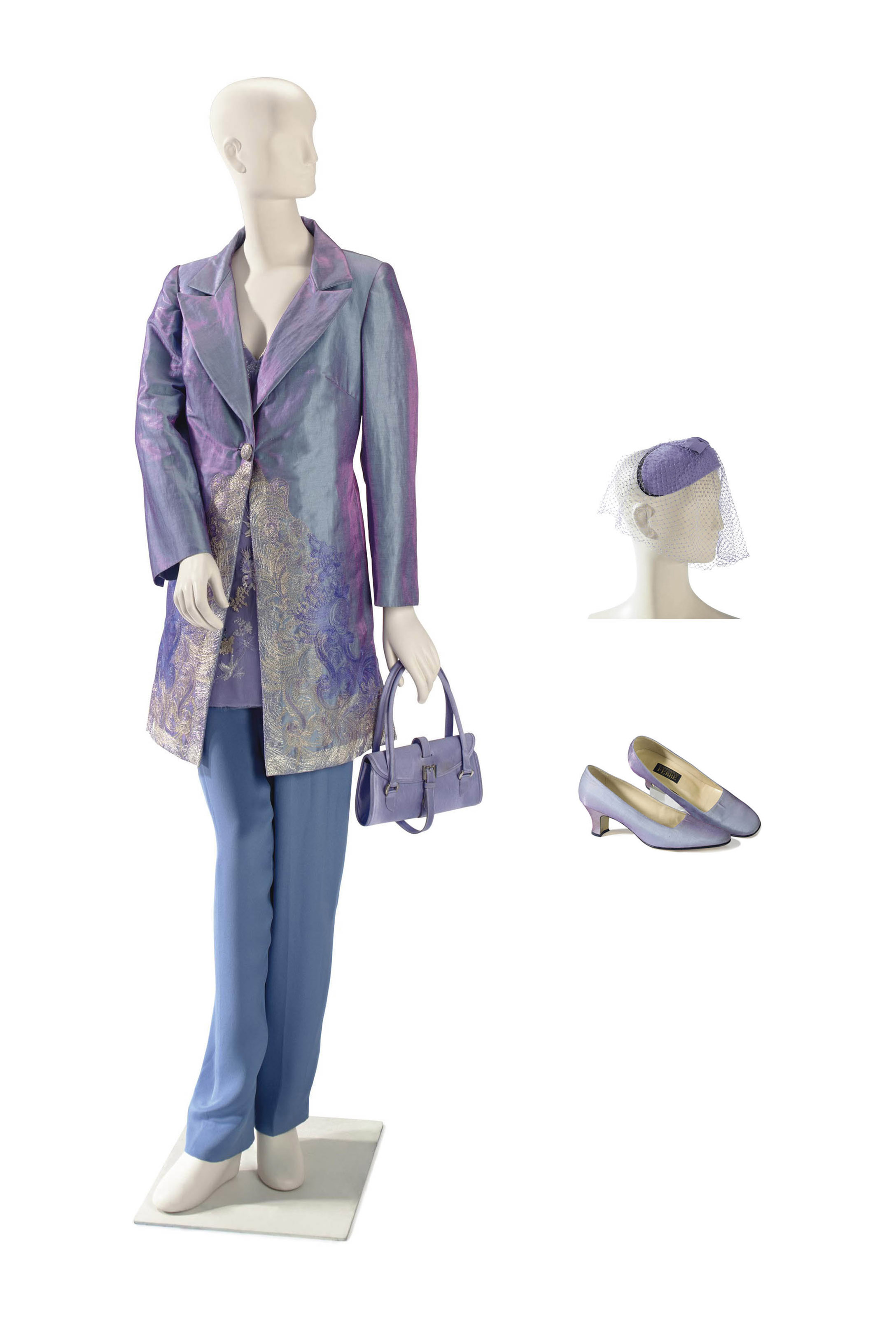 A GIANFRANCO FERRÉ LAVENDER EMBROIDERED SILK TROUSER SUIT