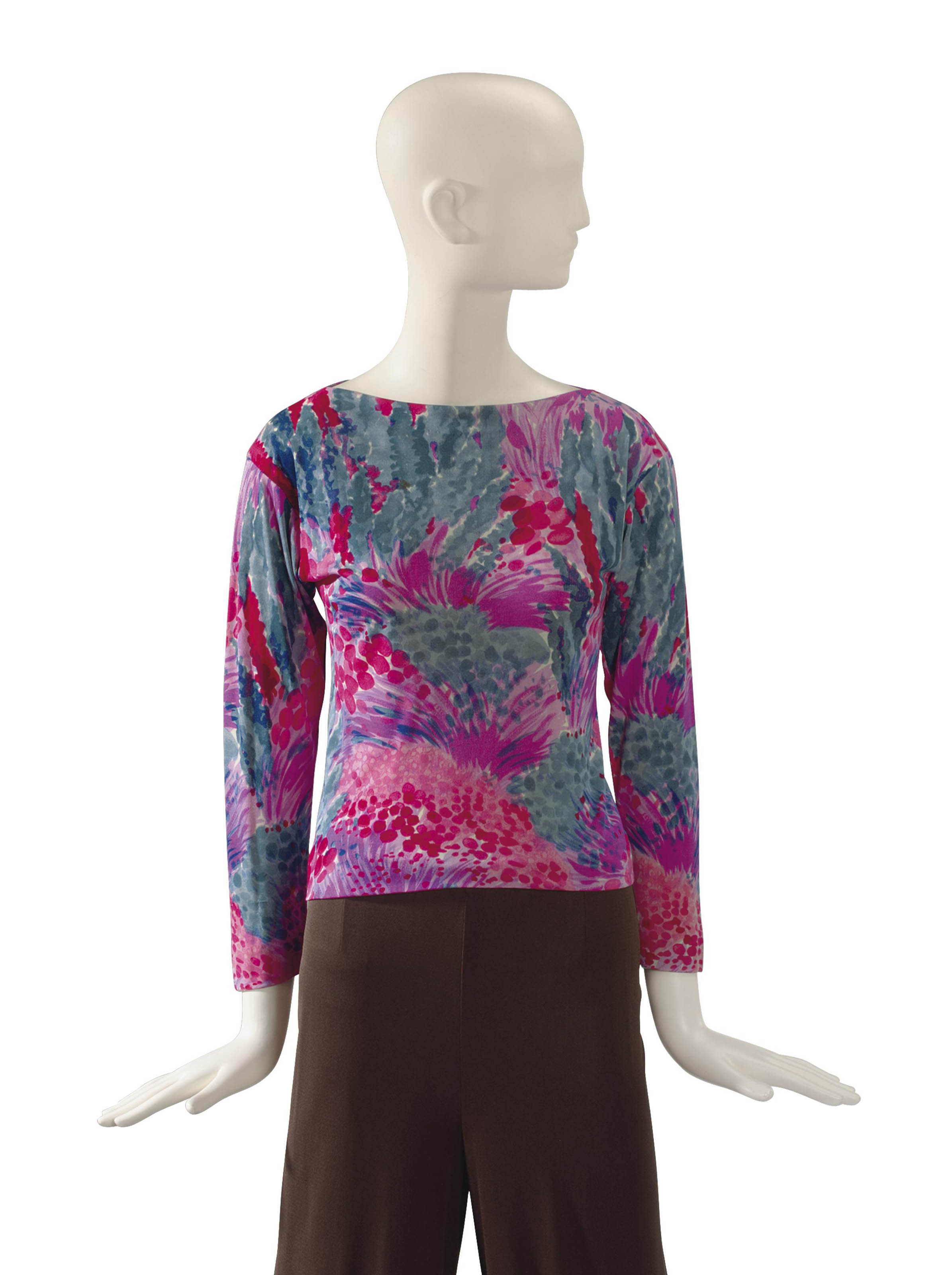 AN EMILIO PUCCI RED, PINK AND GREY FLORAL PRINT SILK JERSEY TOP